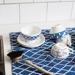 ESKIMO tea towel, washed linen-organic cotton