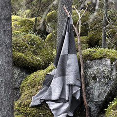 JUSSI blanket grey-black-white