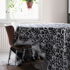KUKAT blanket/tablecloth white-black