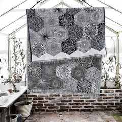 RUUT blanket/ tablecloth white-black