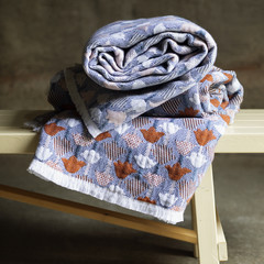 Lapuan Kankurit Tulppaani blanket cinnamon-blue and rose-blue