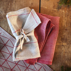 COLOMBINA towel linen-red