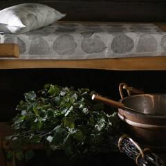 Lapuan Kankurit Sade linen sauna cover and linen sauna pillow