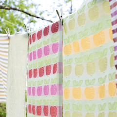OMENA towels white-pink-green and white-yellow-green