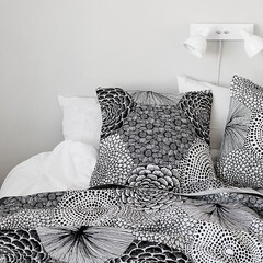 RUUT cushion cover white-black