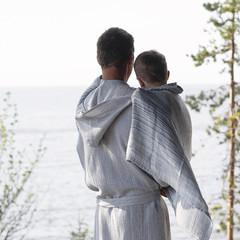 Terva bathrobe with hood white-grey